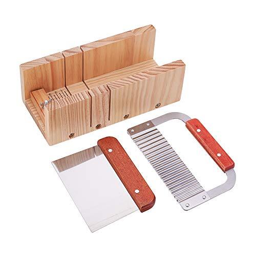 PandaHall justierbare hölzerne Seifenschneider-Form mit gewelltem geradem Hobel-Blatt-Schaber-Ausschnitt-Werkzeug-Satz