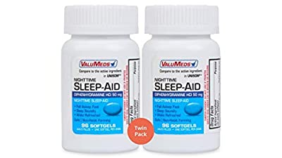 ValuMeds Nighttime Sleep Aid (Twin Pack - 192 Softgels) Diphenhydramine HCl, 50 mg   Supports Deeper, Restful Sleeping for Men, Women