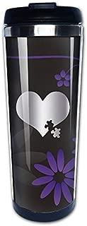 Stainless Steel Autism Awareness Heart Puzz Platinum Style Tumbler Coffee Mug