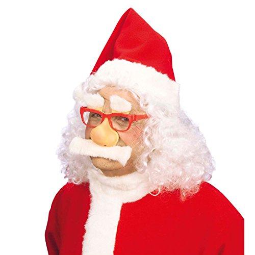 Amakando Set Père Noël avec Lunettes Nez Moustache et Sourcils Saint-Nicolas Barbe déguisement Christmas Accessoire Santa Claus fête Noël