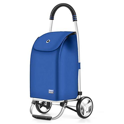 Lanrui Bolso De Compras Plegable con Ruedas, Carretilla De Compras 2 Ruedas, Cable De Bungee Ajustable con Bolso Aislado Removible Azul (Color : Blue)