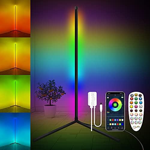 FULLOVE Lampadaire LED, RGB Lampadaire Salon sur Pied D'angle Lampe Couleurs Réglable, Lampe Salon avec télécommande, lampadaire Led sur Pied