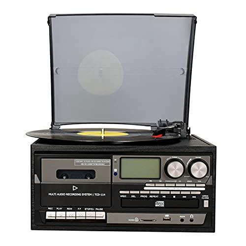 LANGTAOSHA Tocadiscos Bluetooth, Tocadiscos De Vinilo con Altavoces, Tocadiscos para Vinilo A MP3 con Reproducción De Casetes, Radio Am/FM, Control Remoto, Codificación USB/SD,Negro