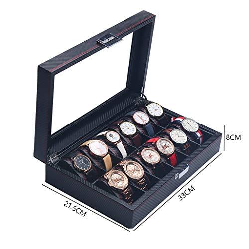 ZYFXZ Sicherheitsschuhe Watch Box, Carbon-Faser-Uhr-Anzeigen-Aufbewahrungsbehälter, Glas Top-Uhr-Finishing-Sammlung Display Box-Armband Schmuck-Box - abschließbare Buckle Arbeitsschuhe (Color : F)