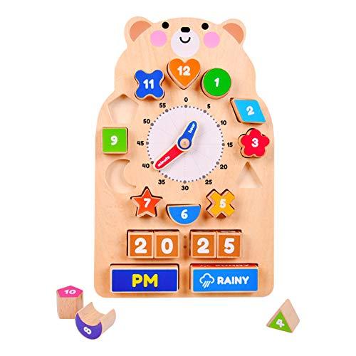 Arkmiido Gioco Orologio in Legno|Orologio Giocattolo Bambino Montessori Giocattoli de Puzzle in Legno 5 in 1 Giocattoli in Legno per Bambini 1-3 Giocattoli Educativi per Bambini e Bambine