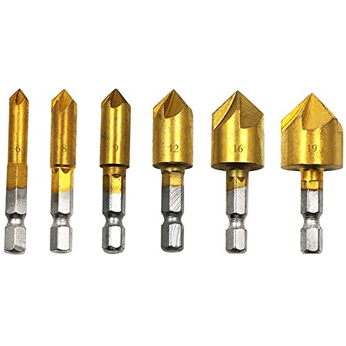 Countersink Drill Bits,6 Pieces High Speed Steel Counter Sinker Drill Bits,5 Flute 90 Degree Center Punch Tool,1/4' Hex Shank Wood Drilling Bits 6mm-19mm