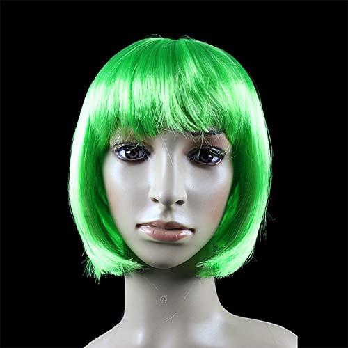 JKL African Female wig Short Hair wig Black Hair wig Small Volume Explosion Headgear European and American Hot wig Set (Color : Green)