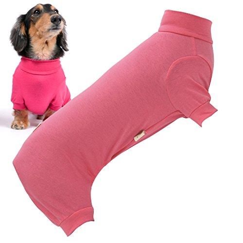 犬猫の服 full of vigor シンプル長袖インナーつなぎ ダックス用 カラー 6 ピンク サイズ DS オールインワン フルオブビガー