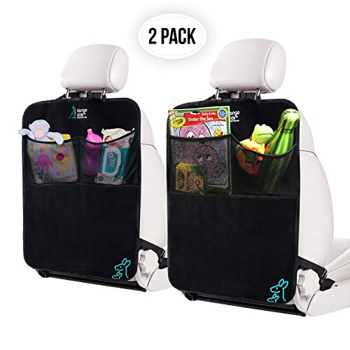 KangoKids Kick Mats – 2 Pack - Keep Your Upholstery Clean - Waterproof and Stain Resistant Back Seat Protectors – Car Seat Protector with Pockets Doubles up as a Handy Car Organizer
