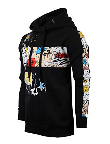 SCREENSHOT-H11068 Mens Urban Hip Hop Premium Fleece Hoodie - Pullover Streetwear Crazy Pattern Side Stripe Fashion Hooded Sweatshirt-Black-Small