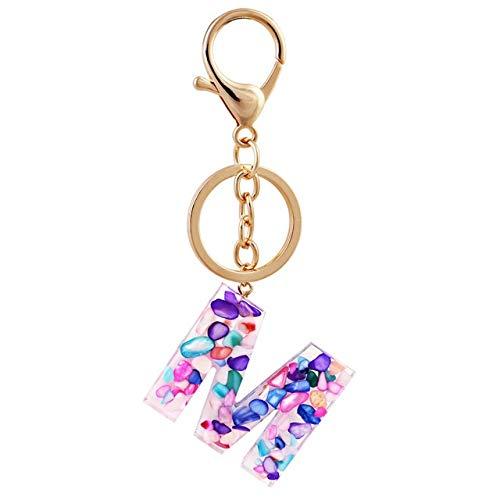 HPLDEHA Neue Art und Weise kreativer 26 Initialen Brief Anhänger Temperament Schlüsselanhänger A to Z Schlüsselanhänger Auto-Schlüsselring-Geschenk-Frauen Schlüsselanhänger Pack (Color : Brown)