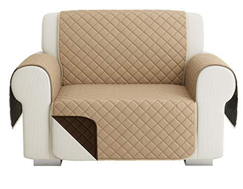 Fundas para Sofa Acolchado, Funda De Sofas 1 Plaza / Relax, Cubre Sofa Reversible Bicolor, Beige Oscuro / Marrón