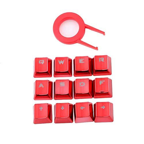 12Keys - Teclas de color rojo con doble disparo de inyección retroiluminada, perfil OEM, diseño ANSI metálico galvanizado para teclados mecánicos con extractor de llaves
