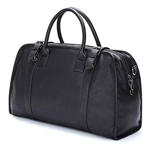 HAZXDFZL Mens Vintage Leather Messenger Bag,Expandable Large Hybrid Tote Hand Bags Laptop Bag,Briefcase for Men Business Travel,fits 15 Inch Laptop, Black Banquet, work and shopping, leisure outing tr