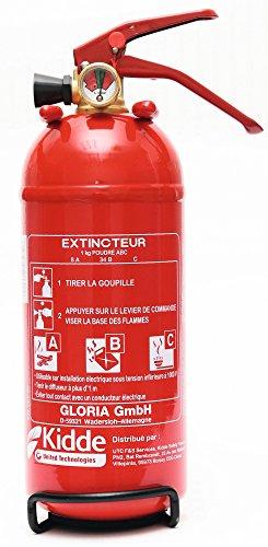 Kidde KIDJ418 Extincteur à Poudre Polyvalente ABC 1 Kg, Rouge