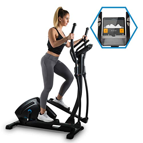 Capital Sports Helix Track Cross Trainer with training computer - Crosswalker, Bluetooth, Belt drive, App integration, 18 kg flywheel, 32 steps, Tablet holder, USB charging socket, Black