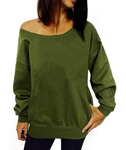 Dutebare Women Off Shoulder Sweatshirt Slouchy Shirt Long Sleeve Pullover Tops Army Green a 2XL