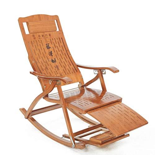 GONGFF Klappbarer Schaukelstuhl Liegestuhl Bambusstuhl Schwangere Liegestühle Schlafzimmer Wohnzimmer Ruhestuhl Lakeside Freizeitstuhl Rückenlehne Sessel (Farbe: A)
