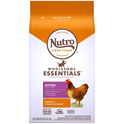 NUTRO WHOLESOME ESSENTIALS Kitten Natural Dry Cat Food for Early Development Farm-Raised Chicken & Brown Rice Recipe, 3 lb. Bag