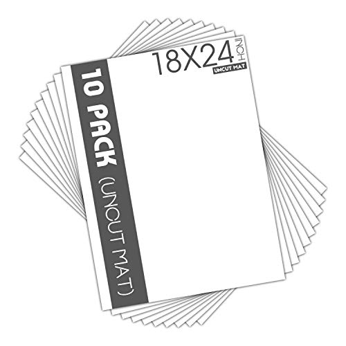 Mat Board Center, Pack of 10, 18x24 Uncut White Color Mats - Acid Free, 4-ply Thickness, White Core - for Pictures, Photos, Framing - Great for DIY Projects or Unique Picture Sizes