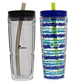 Bubba Envy Insulated Tumbler with Straw, 24oz - Impact, Stain, Sweat, and Odor Resistant Travel Mug - Ideal Double Insulated Water Bottle to Take on the Go and Stays Cold - SeaSide and Smoke, 2 Pack