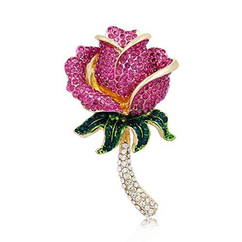 RelaxLife Broche Rosa Roja Rosa Alfileres Broche De Flores De Diamantes De...