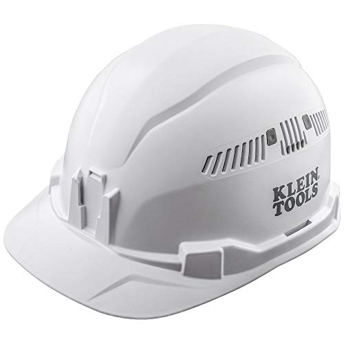 Klein Tools 60105 Hard Hat, Vented Cap Style, Padded Self-Wicking Odor-Resistant Sweatband, White