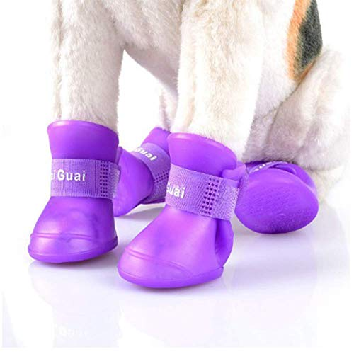 boxod 2018 New Cute Pet Dog Puppy Rain Snow Boots Shoes Booties Candy Colors Rubber Waterproof Anti-Slip (Purple,S)
