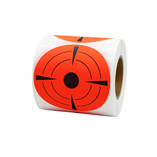 Hcode 3 Inch Round Adhesive Target Pasters Fluorescent Shooting Targets Stickers Target Dots for Shooting Total 250 Pcs (Fluorescent red)