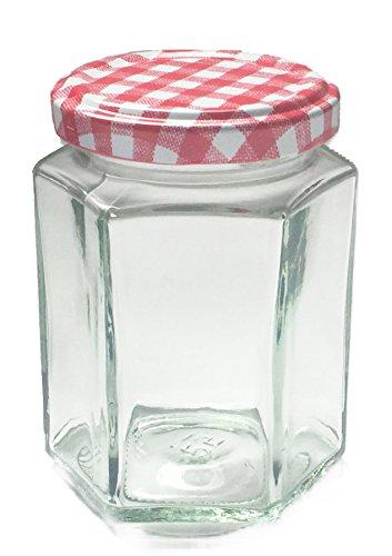 Nutley's Lot de 36 pots à confiture hexagonaux avec couvercles vichy rouge 190 ml