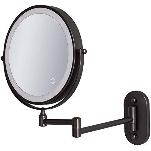 Espejos de baño de 20,3 cm montado en la pared, espejo de afeitado LED de apagado automático 1X/10X aumento de doble cara giratorio de 360° extensible, alimentado por 4 pilas AAA, color negro