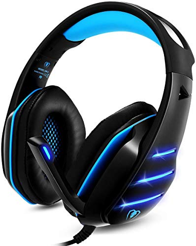 Cocar Gaming-Headset GM-3, Gamer-Kopfhörer, Schwarz-Blau, 3,5 mm verkabelter Stereo-Sound, Over-Ear-Kopfhörer mit Geräuschisolierung, Mikrofon, LED-Licht für PS4, Xbox, PC, Laptop, Tablet, Mac