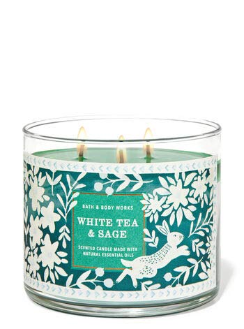 Bath and Body Works, White Barn 3-Wick Candle w/Essential Oils - 14.5 oz - 2021 Fresh Spring Scents! (White Tea & Sage)