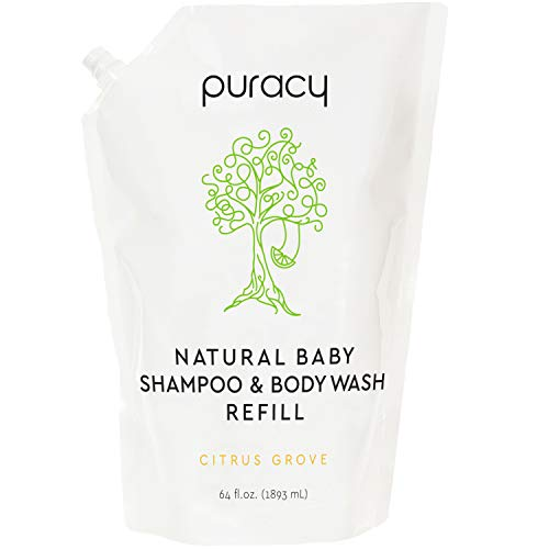 Puracy Natural Baby Shampoo & Body Wash Refill, 64 Ounce, Tear-Free Hypoallergenic Bath Soap