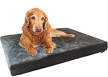 Dogbed4less Orthopedic Dog Bed with Memory Foam for Medium Large Pet, Waterproof Liner, Washable Microsuede Gray Cover, 41X27X4 Inch (Fit 42X28 Crate)