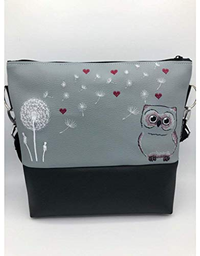 Handtasche Pusteblume mit Eulen und Herzen Schultertasche/Umhängetasche *bestickt