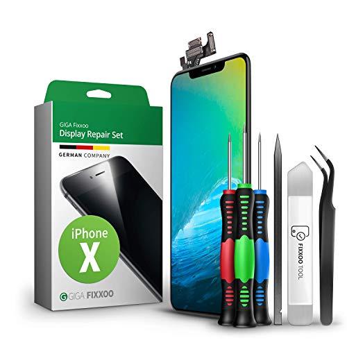 GIGA Fixxoo Kit di Ricambio per Schermo di iPhone X, Completo con LCD Nero, Touch Screen Display Retina in Vetro, Fotocamera e Sensore di Prossimità - Guida Illustrata per Riparazione Facile