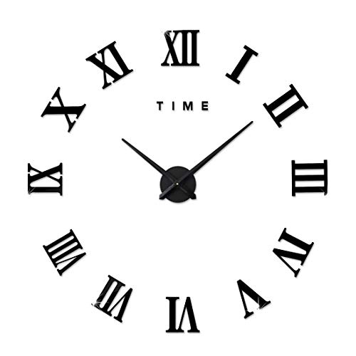 FAS1 Moderne DIY Große Wanduhr Big Armbanduhr Aufkleber 3D Spiegel Aufkleber Römischen Ziffern Wanduhr Home Office Abnehmbarer Dekoration (Akku Nicht Enthalten) Schwarz