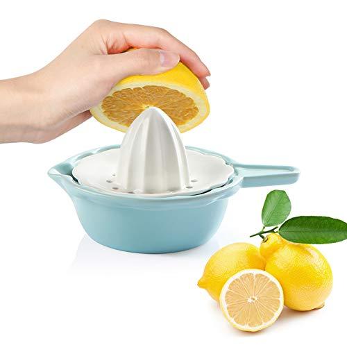 SWEEJAR Ceramic Citrus Juicer Stoneware Lemon Squeezer with Detachable Bowl 7 Ounce Manual Fruit ReamerTurquoise
