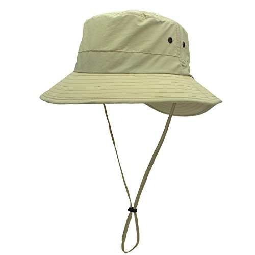 LLmoway Womens Lightweight Outdoor Safari Sun Hat Quick Dry Cooling Fishing Hat with Strap Khaki