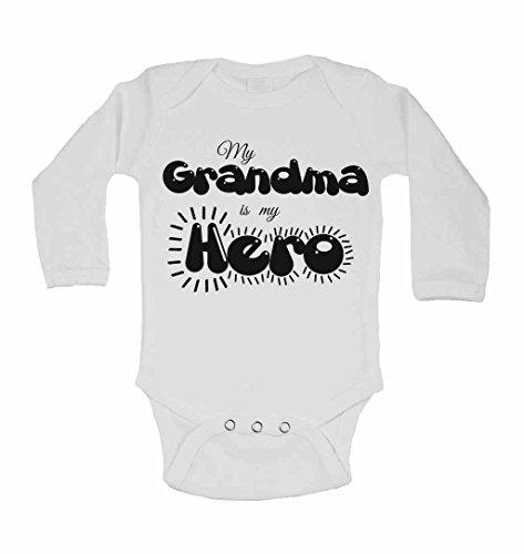 My Grandma est My Hero – personnalisé bébé à manches longues gilets bodies bébé SE Développe pour garçons, filles – Blanc – 2–3 ans