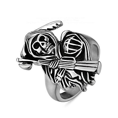 Fantasma de calavera de acero inoxidable con anillos de pistola Hombres Mujeres Regalos de Halloween Punk Rock 13 Plata