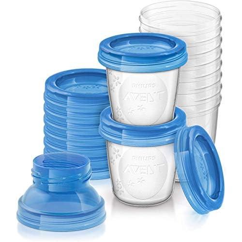 Philips Avent SCF618/10 Set Vasetti per Conservare il Latte Materno e le Pappe, 10 pezzi, 180ml + 2 Adattatori