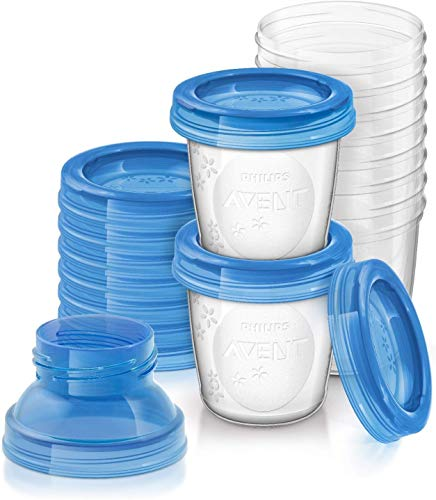 Philips Avent - Set de recipientes para leche materna (10 recipientes + 10 tapas + 2 adaptadores)