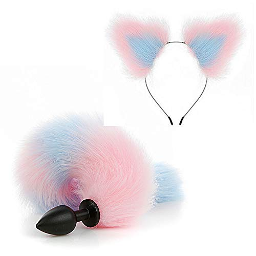 2 Stück Plüsch Fox Tail Smooth PlÛg und Pink - Bule Cat Ears Stirnband Cosplay Maid Toy Als Geschenk für Partner