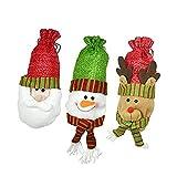 Juego de Botellas de Vino de Navidad 3 unids Navidad Botella de Vino Cubierta Exquisito Santa Claus Muñeco de Nieve Ciervos Red Wine Bag para casa Fiesta Comedor Mesa Ambiente Ambiente