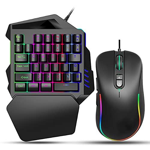 SHAKERワンハンドゲーミングキーボードとマウスコンボ36キー有線USBメカニカルキーパッドブルースイッチLEDバックライト付きリストレスト付きプログラム可能マウスPC用コンピュータノートパソコンゲーム用