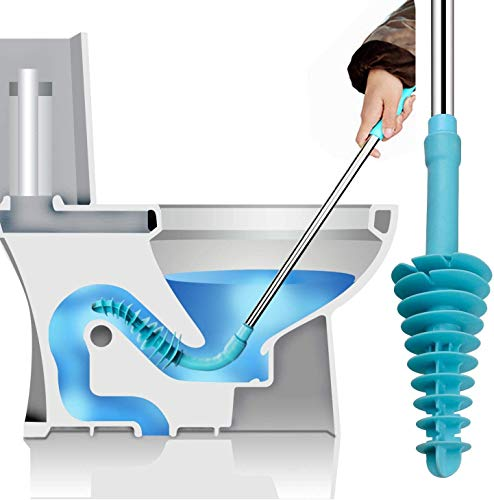 Samshow Toilet Plunger, Toilet Dredge Designed for Siphon-Type, Power Cleaned Toilet Pipe, Patented, Environmentally Friendly, Stainless Steel Handle with Wall Hook