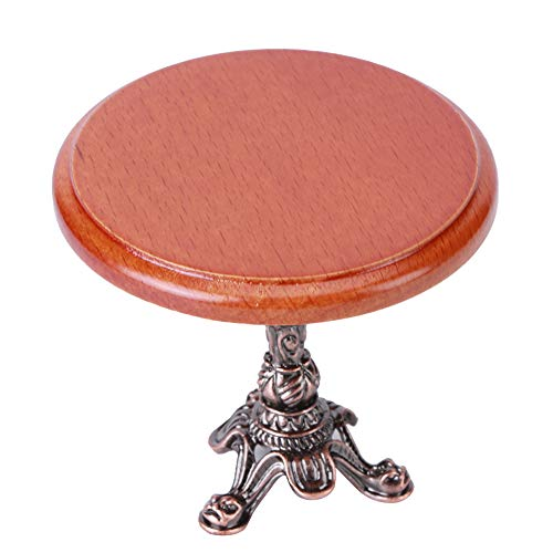Tavolino rotondo Mini tavolo in miniatura, decorazione per casa delle bambole, 1:12 simulato per bambine(American round table)