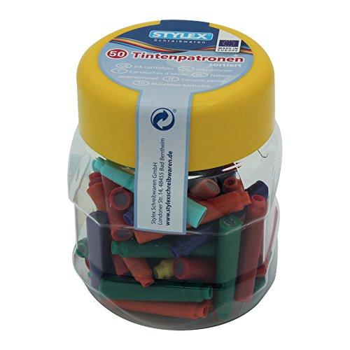Stylex 23016 Tintenpatronen farbig, Kunstoffbox, 50 Stück